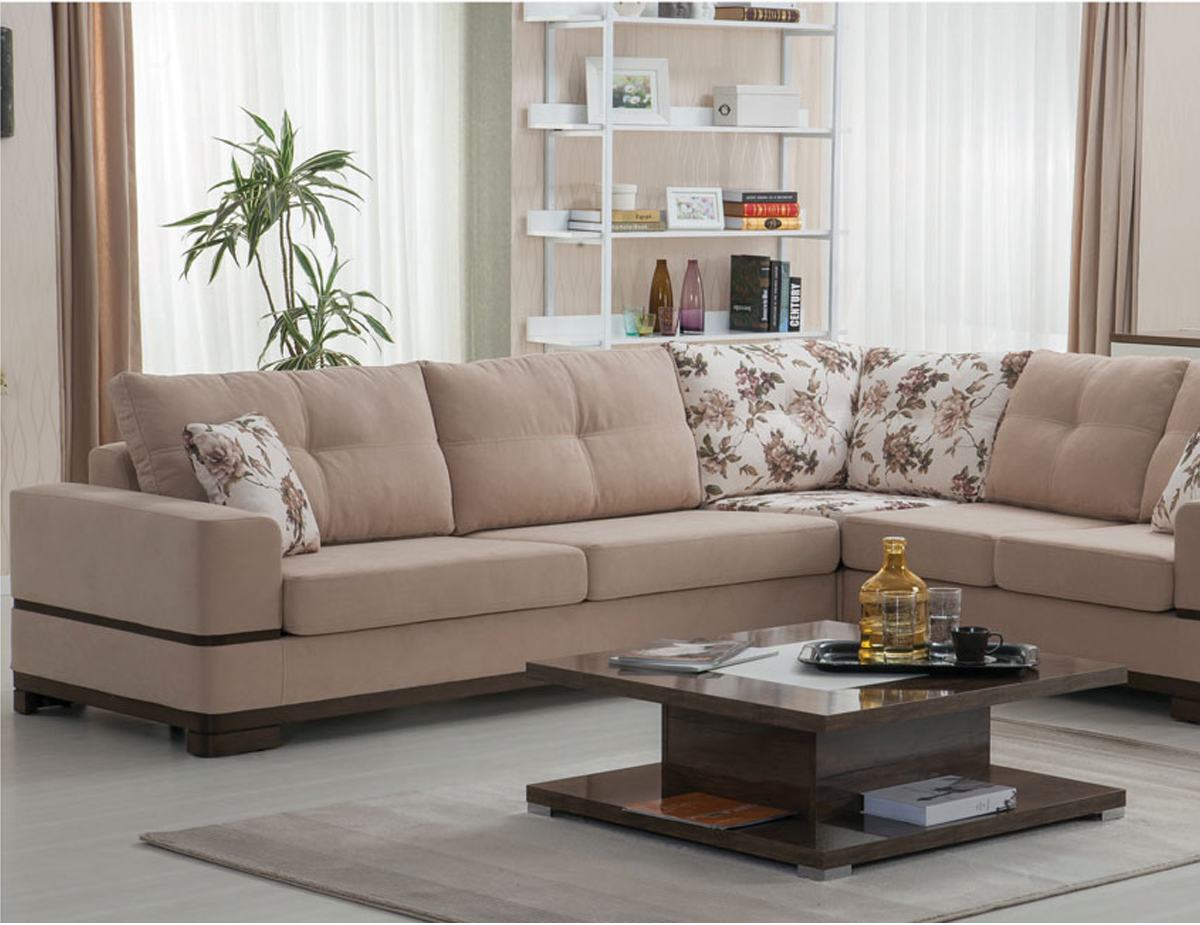 Corner sofa with light color